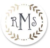 Minted Glittered Monogram Custom Stickers