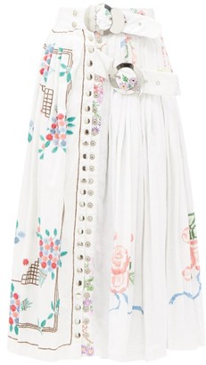 Chopova Lowena - Belted Embroidered Recycled-linen Midi Skirt - White Multi