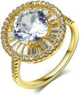 Epinki Stainless Steel Women Wedding Engagement Halo Ring Round Cut Cubic Zirconia Bridal Set Size 6
