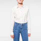 Paul Smith Women's Oversized Off-White 'Mini-Heart' Print Cotton Shirt