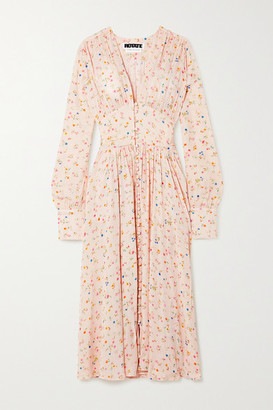 Rotate by Birger Christensen Tracy Ruched Floral-print Jacquard Midi Dress - Peach