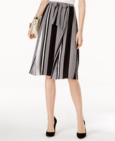 NY Collection Belted Striped Midi Skirt