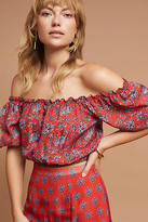 Carolina K. Phoenicia Silk Off-The-Shoulder Cropped Top