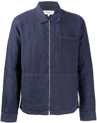 YMC Bowie zip-up linen shirt