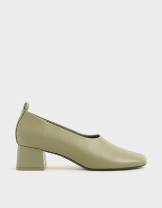Charles & Keith Block Heel Round Toe Pumps