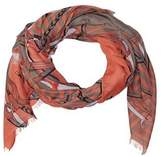 La Fiorentina Women's Scarf With Chain/striped Print.