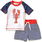 Starting Out Baby Boys 12-24 Months Lobster Striped Tee & Swim Shorts Set