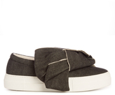 Joshua Sanders Bow denim slip-on trainers