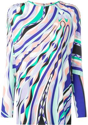 Emilio Pucci Burle Print Ruched Long Sleeved Top