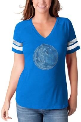 G Iii Women's G-III 4Her by Carl Banks Heathered Blue Dallas Mavericks Triple Double Rhinestone Tri-Blend V-Neck T-Shirt