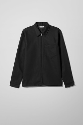 Weekday Tidy Zip Denim Shirt Black - Black