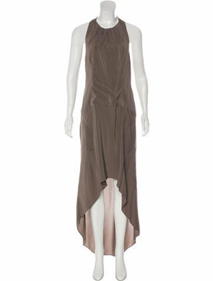 Brunello Cucinelli Belted Maxi Dress Grey