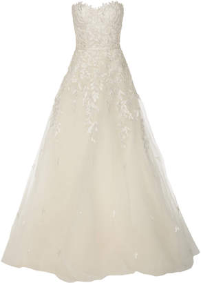 Mira Zwillinger Charla Strapless Embroidered Silk Tulle Gown