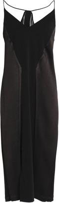Halston Paneled Crepe, Satin And Chiffon Midi Dress
