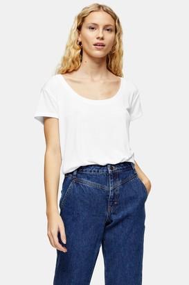 Topshop Womens Premium White Scoop Neck Viscose T-Shirt - White