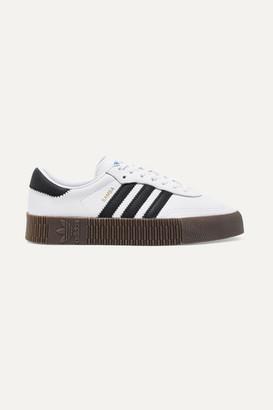 adidas Sambarose Textured-leather Platform Sneakers - White