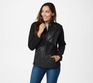 Belle By Kim Gravel Faux Leather and Faux Suede Jacket