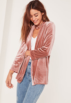 Missguided Pink Slouchy Velvet Blazer