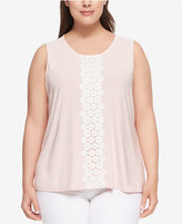 Tommy Hilfiger Plus Size Crochet-Trim Shell