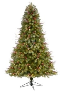 Nearly Natural Lightly Frosted Big Sky Spruce Artificial Christmas Tree with 450 Clear Multifunction Led Lights with Instant Connect Technology, Berries, Pine Cones and 904 Bendable Branches