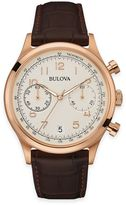 Bulova Men's Chronograph Watch in Goldtone Stainless Steel with Brown Leather Strap