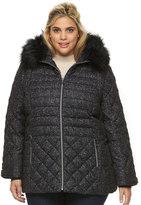 ZeroXposur Plus Size Sabrina Hooded Mixed-Media Puffer Jacket