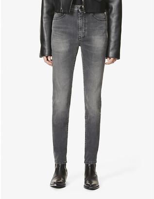 Saint Laurent Faded skinny high-rise stretch-denim jeans