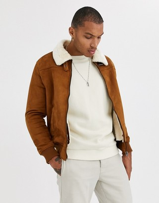 Bershka lined faux suede jacket with contrast collar in tan