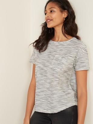Old Navy Loose-Fit Textured-Stripe Pocket Easy Tee for Women