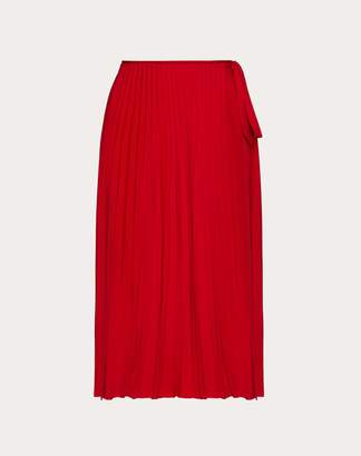 Valentino Pleated Georgette Skirt Women Red 44
