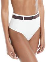 Solid and Striped Josephine Belted High-Waist Swim Bikini Bottoms