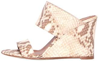 Paris Texas Python Two Strap Wedge Heel in Faded Natural