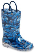 Western Chief Toddler Boy's Shark Chase Light-Up Rain Boot