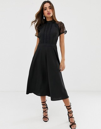 Liquorish a line lace detail midi dress-Black