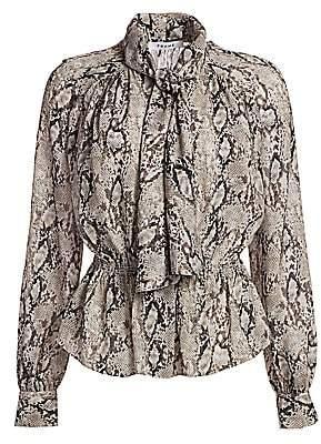 Frame Women's Snakeskin-Print Tie-Neck Peplum Blouse