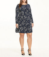 Lauren Ralph Lauren Plus Abstract Printed Trapeze Long Sleeve Matte Jersey Dress