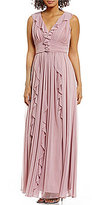 JS Collections Romantic Ruffle Sheer Matte Jersey Gown