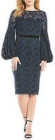 Maggy London Lace Balloon Sleeve Midi Dress