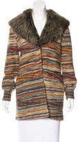 Missoni Shearling-Trimmed Knit Coat