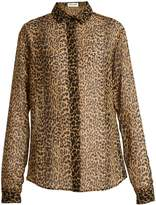 Saint Laurent Leopard-print silk shirt