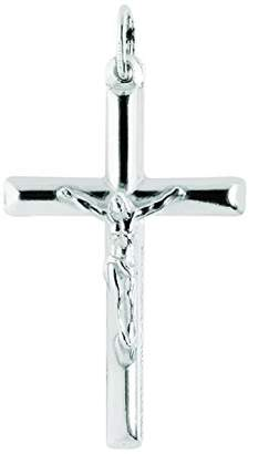 Ritastephens Sterling Italian Crucifix Cross Pendant Only or Chain Necklace (35mm)