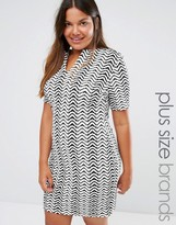 Club L Plus Dress With Open Neck In Chevron Print