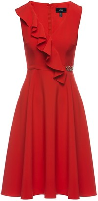 Nissa Red Front Ruffle Detail Midi Dress