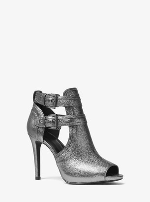MICHAEL Michael Kors Blaze Metallic Leather Open-Toe Bootie