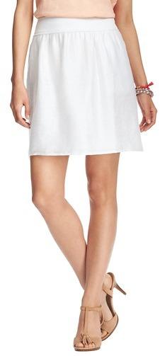 LOFT Petite Shirred Linen Blend Skirt