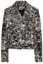 MICHAEL Michael Kors Belted Printed Leather Biker Jacket