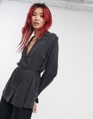 And other stories & co-ord cupro blazer blouse in black