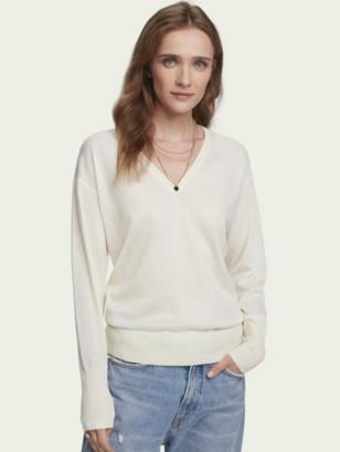 Scotch & Soda 100% Merino wool long sleeve V-neck sweater   Women
