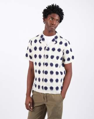 Folk Short Sleeve Soft Collar Ecru & Indigo