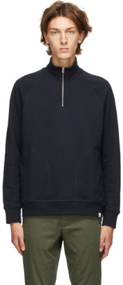 Norse Projects Navy Alfred Zip-Up Sweater
